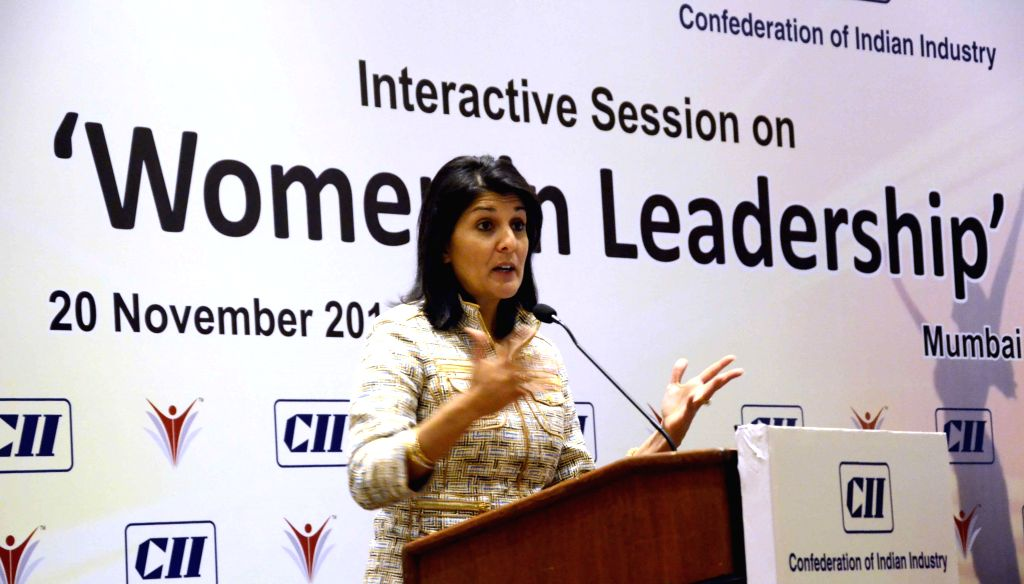 South Carolina (United States) Governor Nikki Haley addresses during a CII conference on `Women in Leadership` in Mumbai on Nov 20, 2014.