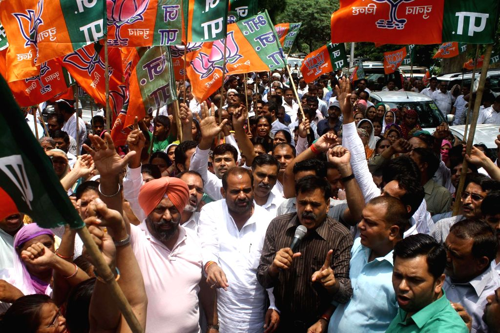 South Delhi BJP MP Ramesh Bidhuri during a demonstration staged by party workers near BSES office in Nehru Place of New Delhi against prevailing power crisis in the national capital on July 15, 2014.