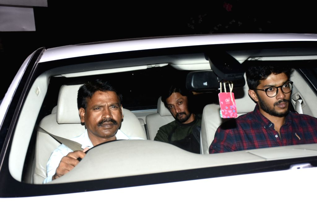 South Indian actor Sudeep seen outside actor Sohail Khan's house in Mumbai, on May 12, 2019. - Sudeep and Sohail Khan