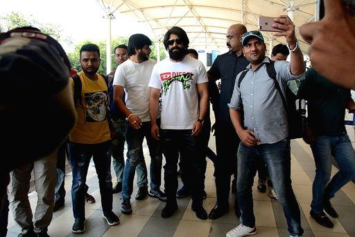 South Indian actor Yash seen at Chhatrapati Shivaji International Airport in Mumbai on March 16, 2020. - Yash