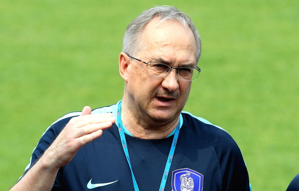 South Korea's football head coach Uli Stielike speaks during a press conference at the National Football Center in Paju, north of Seoul, on May 29, 2017, ahead of a 2018 World Cup qualifier against ...