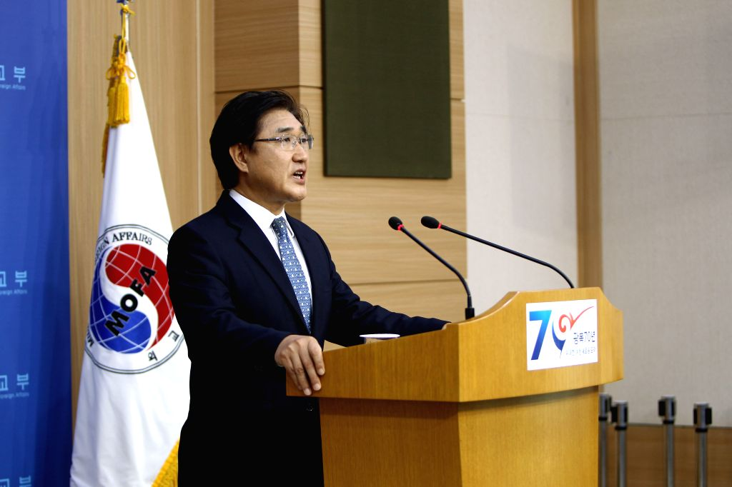 South Korea's Foreign Ministry spokesman Noh Kwang-il delivers a speech urging Japan to make more efforts to resolve bilateral disputes stemming from shared history ...