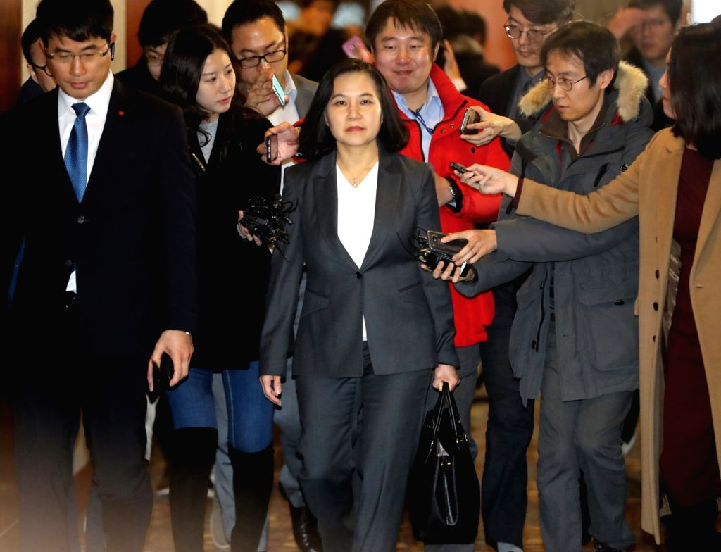 South Korea's top negotiator Yoo Myung-hee arrives at Lotte Hotel in Seoul on Jan. 31, 2018, to attend the second round of talks on the amendment of the free trade deal between South Korea and ...