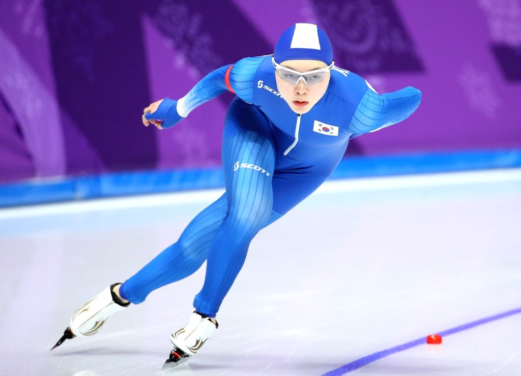 South Korea speed skater Noh Seon-yeong competes in the women's 1,500 meters at the PyeongChang Winter Olympics at Gangneung Oval in Gangneung, 240 km east of Seoul, on Feb. 12, 2018. She ...