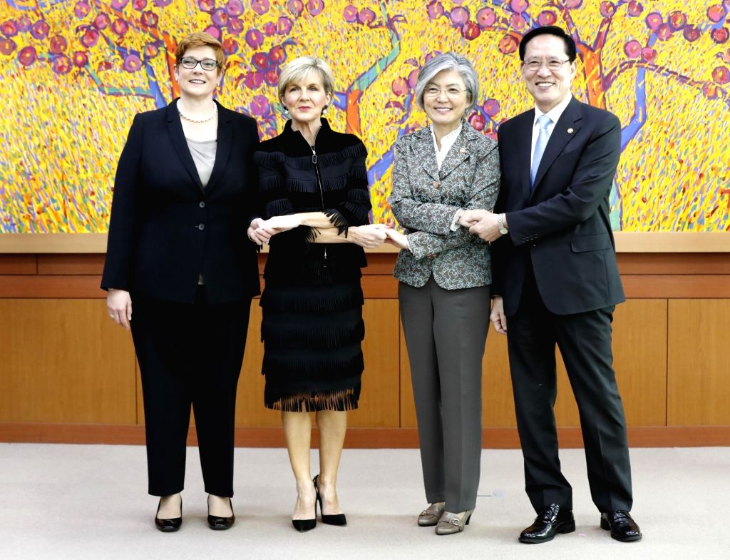 South Korean and Australian foreign and defense ministers pose prior to their talks at the foreign ministry in Seoul on Oct. 13, 2017. From left are Australian Defense Minister Marise Payne, ... - Marise Payne