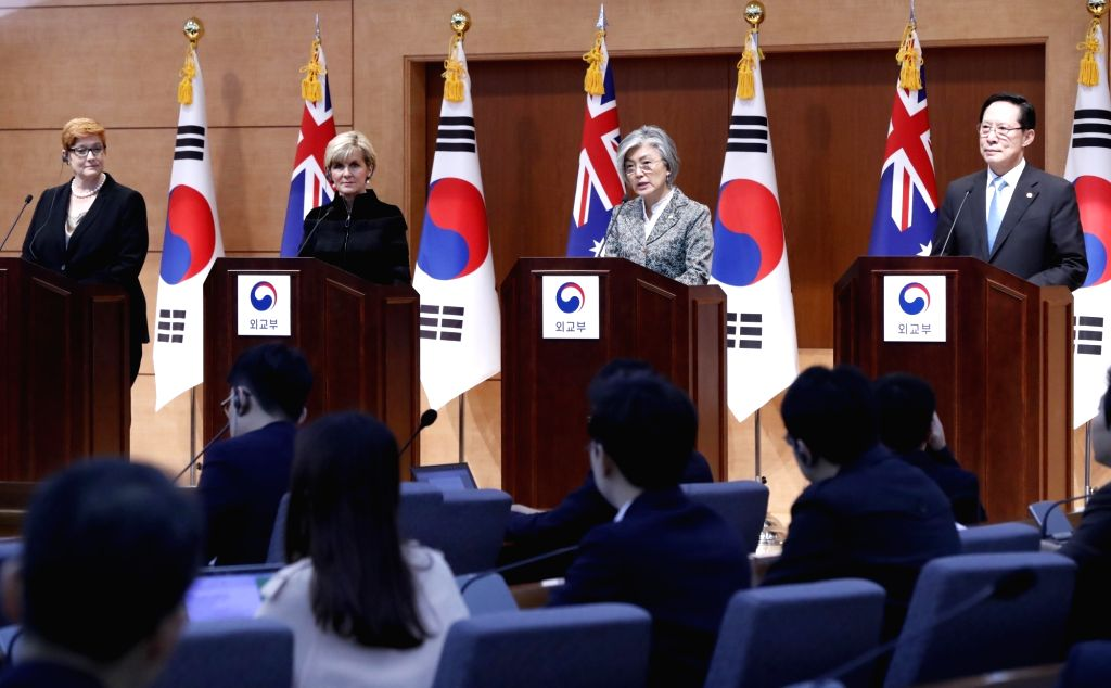 South Korean and Australian foreign and defense ministers hold a joint news conference after their meeting at the foreign ministry in Seoul on Oct. 13, 2017. From left are Australian Defense ... - Marise Payne