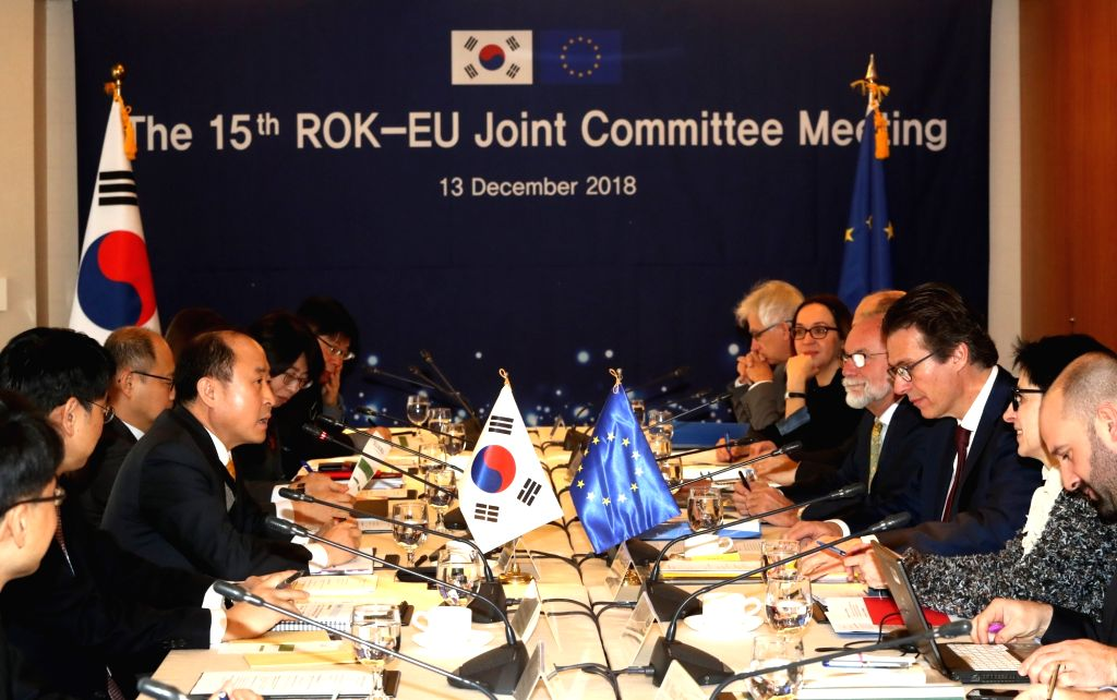 South Korean and European Union officials hold the 15th meeting of the Republic of Korea-EU Joint Committee at a Seoul hotel on Dec. 13, 2018.