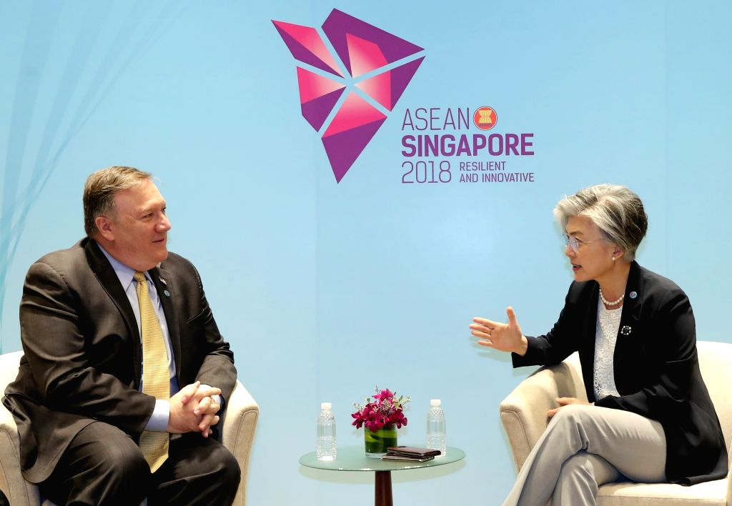 South Korean Foreign Minister Kang Kyung-wha (R) and U.S. Secretary of State Mike Pompeo hold a meeting at the Singapore EXPO convention center on Aug. 4, 2018, the venue of the 19th ASEAN ... - Kang Kyung