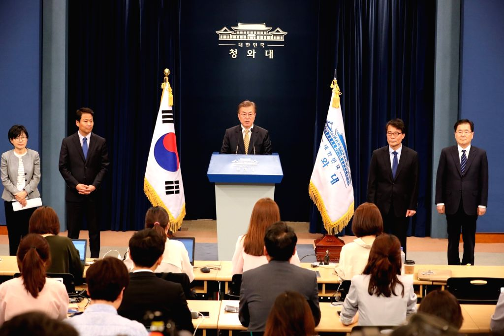 South Korean President Moon Jae-in (D) announces his appointments for new foreign and finance ministers and chief security officials at the presidential office Cheong Wa Dae in Seoul on May ...