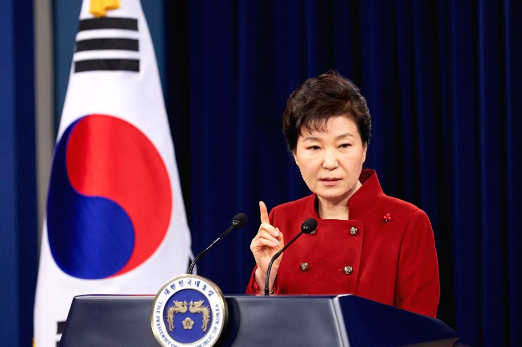 South Korean President Park Geun-hye addresses to the nation at the Presidential Blue House in Seoul, South Korea, Jan. 13, 2016. South Korean President Park Geun-hye ...