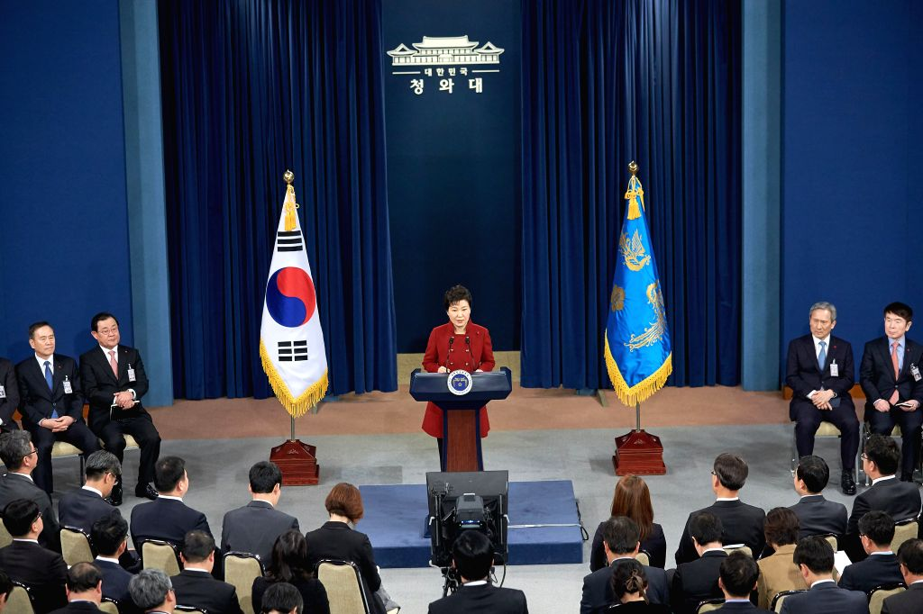 South Korean President Park Geun-hye (C) addresses to the nation at the Presidential Blue House in Seoul, South Korea, Jan. 13, 2016. South Korean President Park ...