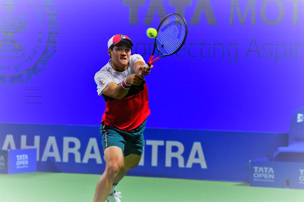 South Korean's Kwon Soon-woo in action against Kwon Soon-woo at the third edition of Tata Open Maharashtra at Mhalunge Balewadi Stadium in Pune on Feb. 6, 2019.