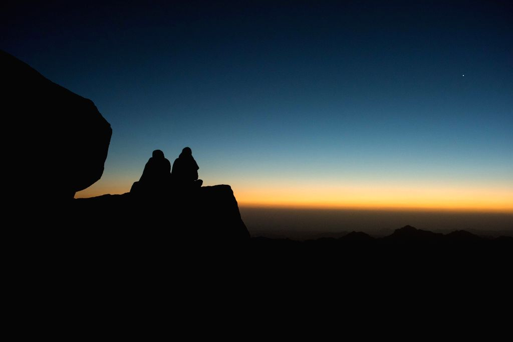 SOUTH SINAI, Oct. 10, 2017 - People wait for sunrise on the Sinai Mount in South Sinai Governorate, Egypt, Oct. 9, 2017.
