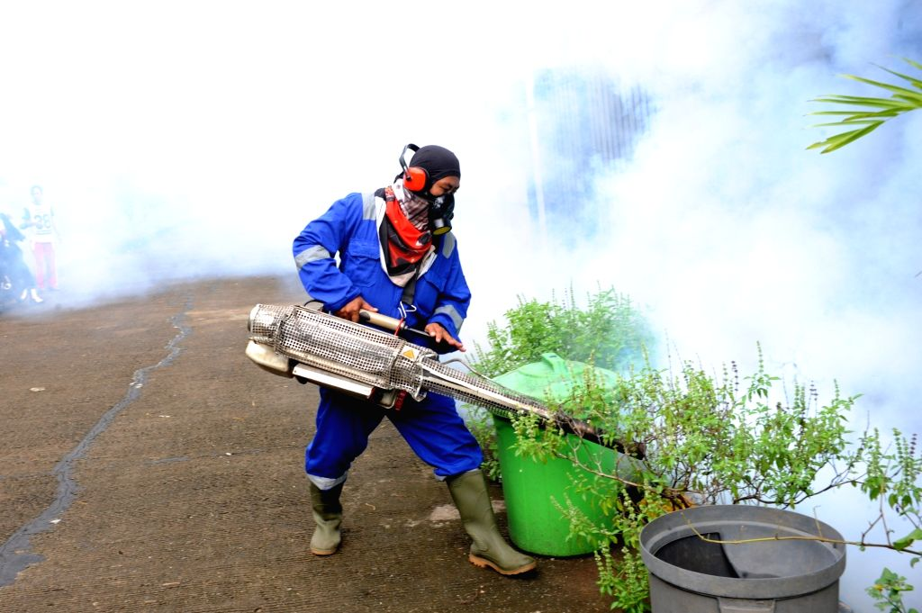 SOUTH TANGERANG, Feb. 17, 2019 - A worker sprays anti-mosquito fog at Cendana Residence in South Tangerang, Indonesia, Feb. 17, 2019.Controlling the number of the adult and larval population of the ...