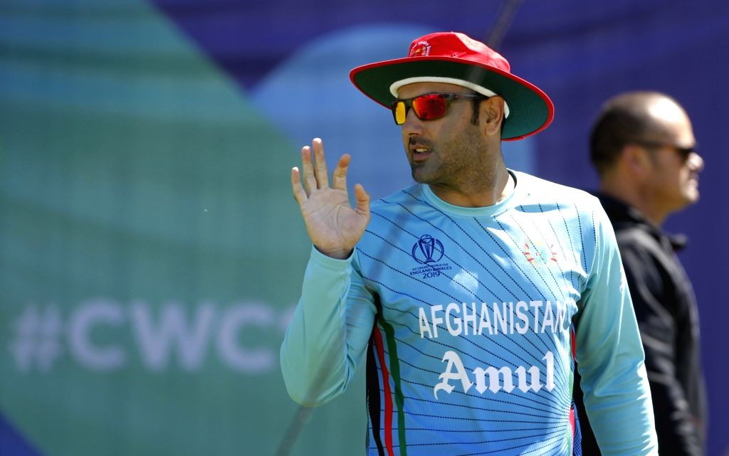 Southampton: Afghanistan's Mohammad Nabi during a practice session ahead of a World Cup 2019 match against India at the Hampshire Bowl in Southampton, England on June 21, 2019. (Photo: Surjeet Yadav/IANS) - Surjeet Yadav