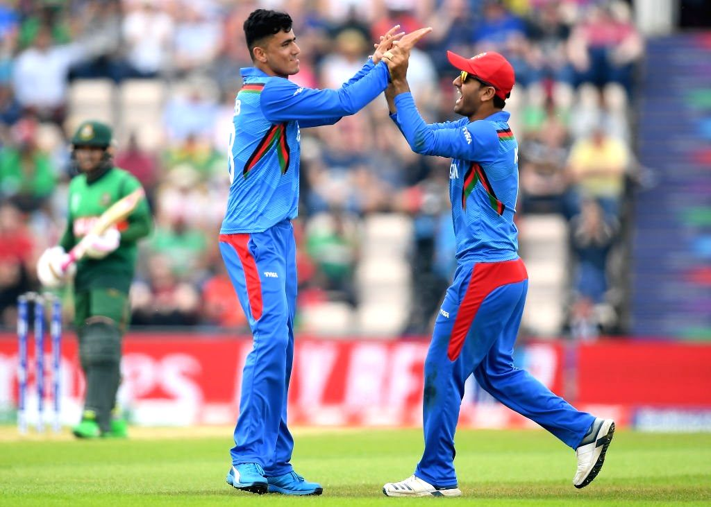 Southampton: Afghanistan's Mujeeb Ur Rahman celebrates fall of a wicket during the 31st match of 2019 World Cup between Afghanistan and Bangladesh at the Rose Bowl in Southampton, England on June 24, 2019. (Photo Credit: Twitter/@cricketworldcup)
