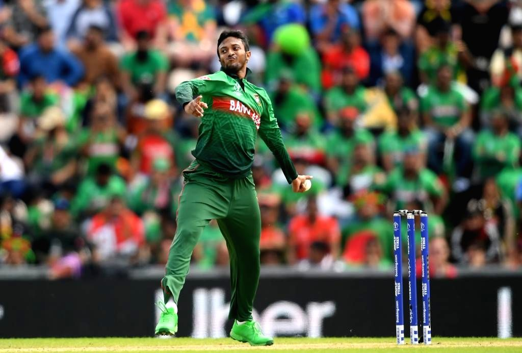 Southampton: Bangladesh's Shakib Al Hasan in action during the 31st match of 2019 World Cup between Afghanistan and Bangladesh at the Rose Bowl in Southampton, England on June 24, 2019. (Photo Credit: Twitter/@cricketworldcup)
