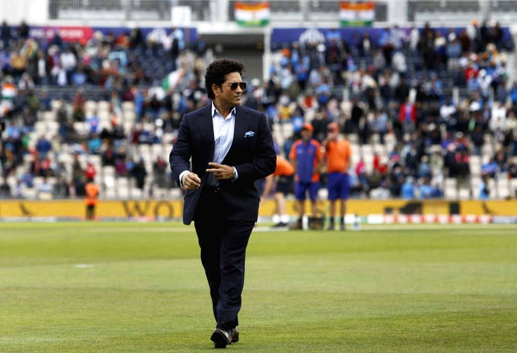 Southampton: Former India cricketer Sachin Tendulkar during the 8th match of 2019 World Cup between India and South Africa at The Rose Bowl in Southampton, England on June 5, 2019. (Photo: Surjeet Yadav/IANS) - Sachin Tendulkar and Surjeet Yadav