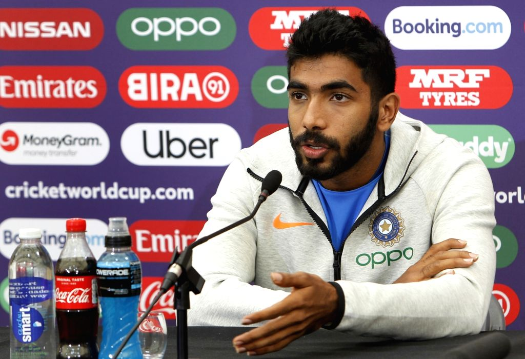 Southampton: India's Jasprit Bumrah addresses a press conference ahead of a World Cup 2019 match against Afghanistan at the Hampshire Bowl in Southampton, England on June 20, 2019. (Photo: Surjeet Yadav/IANS) - Surjeet Yadav
