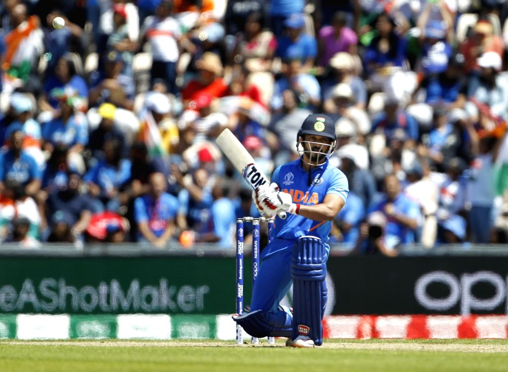 Southampton: India's Kedar Jadhav in action during the 28th match of World Cup 2019 between India and Afghanistan at The Rose Bowl in Southampton, England on June 22, 2019. (Photo: Surjeet Yadav/IANS) - Surjeet Yadav