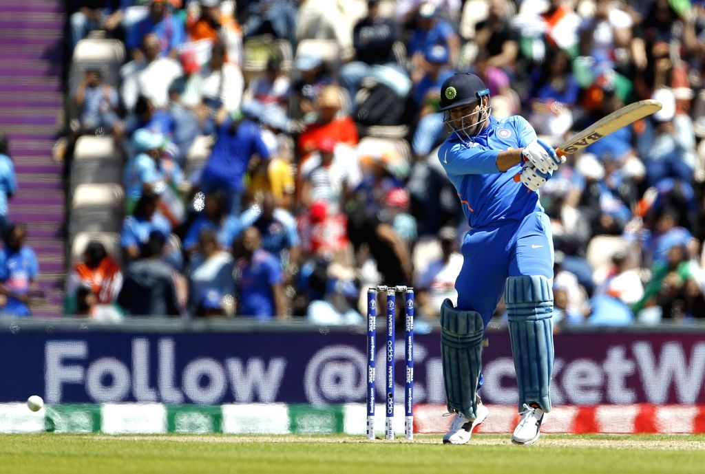 Southampton: India's M.S. Dhoni in action during the 28th match of World Cup 2019 between India and Afghanistan at The Rose Bowl in Southampton, England on June 22, 2019. (Photo: Surjeet Yadav/IANS) - Surjeet Yadav