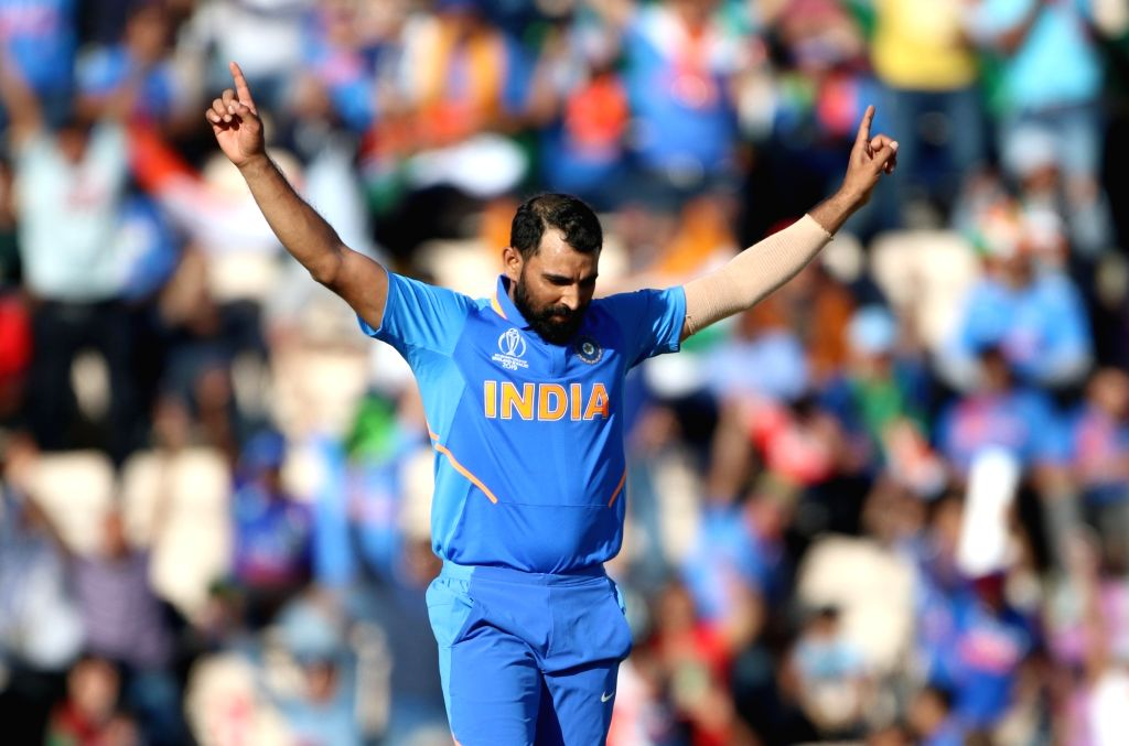 Southampton: India's Mohammed Shami celebrates fall of Mohammad Nabi's wicket during the 28th match of World Cup 2019 between India and Afghanistan at The Rose Bowl in Southampton, England on June 22, 2019. (Photo: Surjeet Yadav/IANS) - Surjeet Yadav