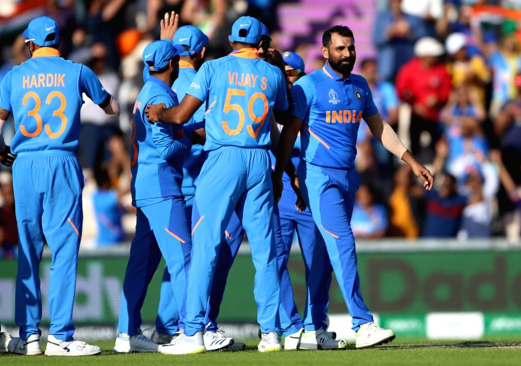 Southampton: India's Mohammed Shami celebrates his hat-trick during the 28th match of World Cup 2019 between India and Afghanistan at The Rose Bowl in Southampton, England on June 22, 2019. (Photo: Surjeet Yadav/IANS) - Surjeet Yadav