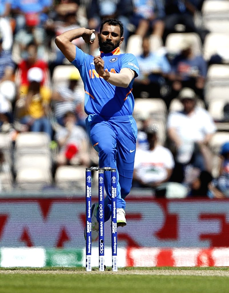 Southampton: India's Mohammed Shami in action during the 28th match of World Cup 2019 between India and Afghanistan at The Rose Bowl in Southampton, England on June 22, 2019. (Photo: Surjeet Yadav/IANS) - Surjeet Yadav
