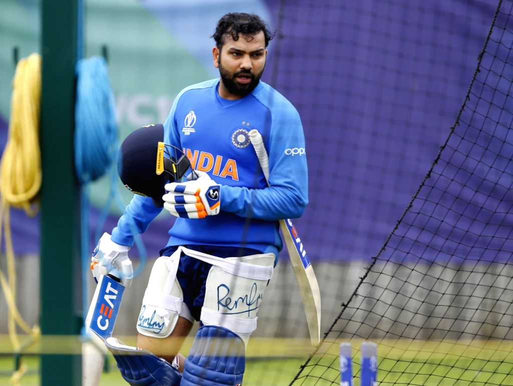 Southampton: India's Rohit Sharma during a practice session ahead of a World Cup 2019 match against Afghanistan at the Hampshire Bowl in Southampton, England on June 19, 2019. (Photo: Surjeet Yadav/IANS) - Rohit Sharma and Surjeet Yadav