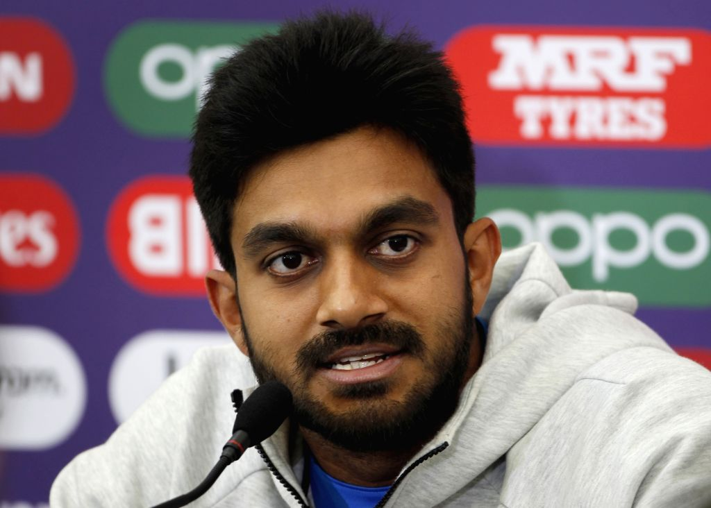 Southampton: India's Vijay Shankar addresses a press conference ahead of a World Cup 2019 match against Afghanistan at The Rose Bowl in Southampton, England on June 21, 2019. (Photo: Surjeet Yadav/IANS) - Surjeet Yadav