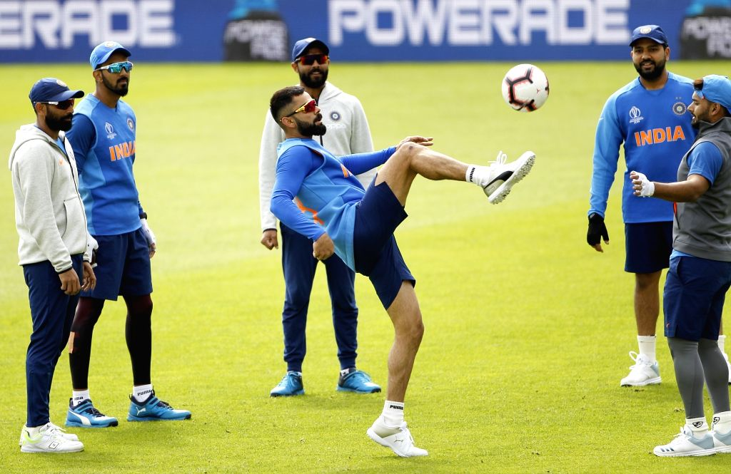 Southampton: Indian captain Virat Kohli during a practice session ahead of a World Cup 2019 match against Afghanistan at the Hampshire Bowl in Southampton, England on June 20, 2019. (Photo: Surjeet Yadav/IANS) - Virat Kohli and Surjeet Yadav