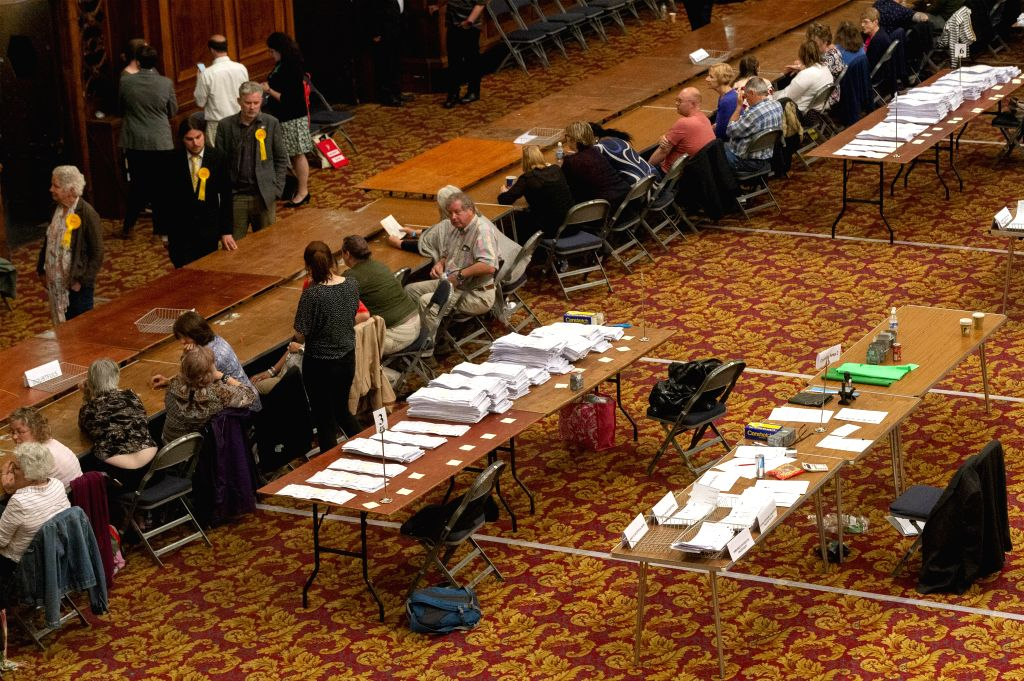 SOUTHAMPTON, May 27, 2019 - Officials count ballots at a European Parliament elections count centre in Southampton, Britain, on May 26, 2019. The first local results announced Sunday night showed ...