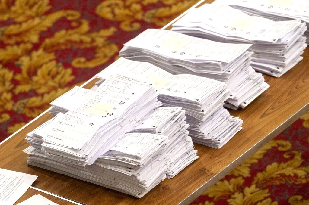 SOUTHAMPTON, May 27, 2019 - Piles of paper votes for European Parliament elections are seen in a count centre in Southampton, Britain, on May 26, 2019. The first local results announced Sunday night ...