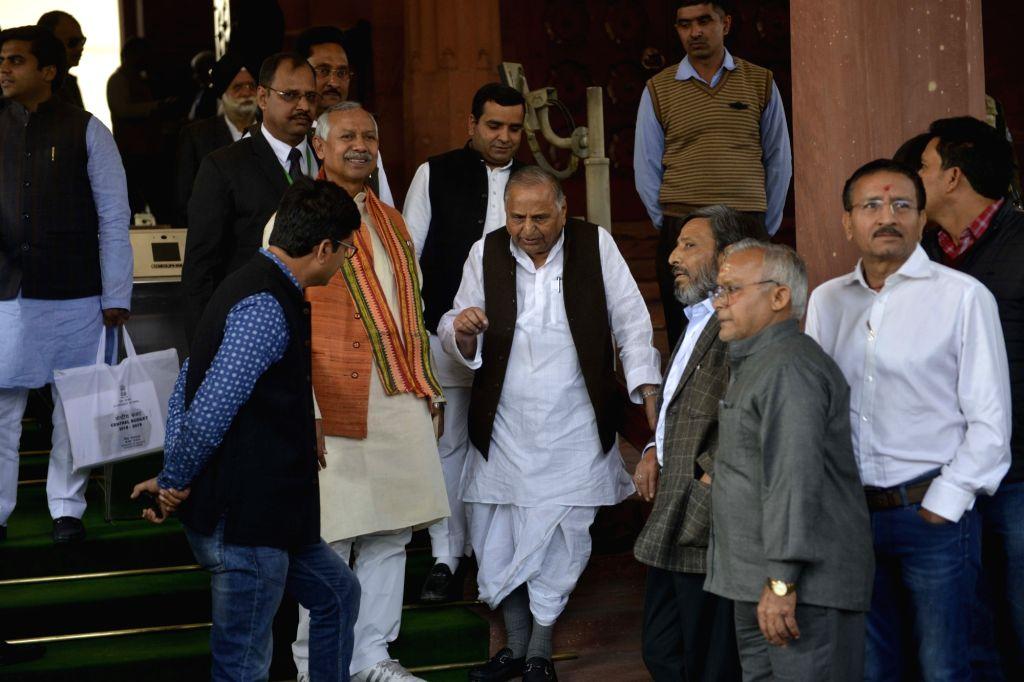 SP MP Mulayam Singh Yadav at Parliament on Feb 1, 2018. - Mulayam Singh Yadav