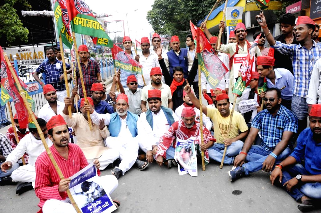 SP workers stage a demonstration during a shutdown called by the Left parties in Bihar against the rape of 34 minor girls at a shelter home in Muzaffarpur district; in Patna on Aug 2, 2018. ...