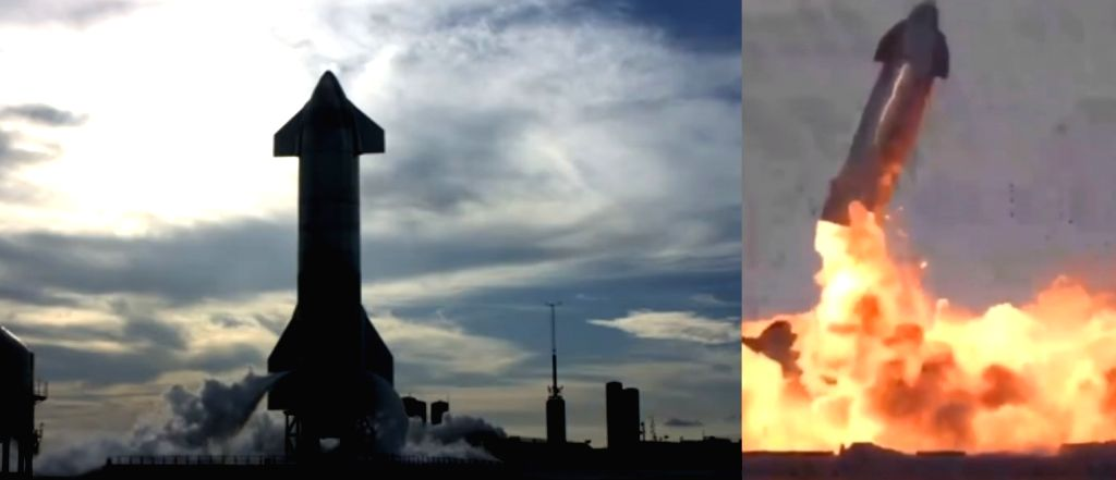 SpaceX lands Starship prototype, and then it explodes.(photo:Twitter SpaceX)