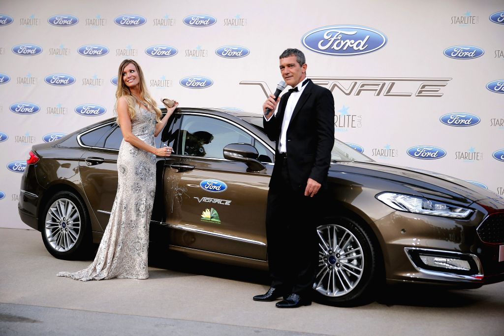 Spanish actor Antonio Banderas and his girlfriend Nicole Kimpel during Startlite Charity Gala, today 09 August, celebrated at Marbella, Malaga, south Spain. EFE / Jorge Zapata./IANS - Antonio Banderas