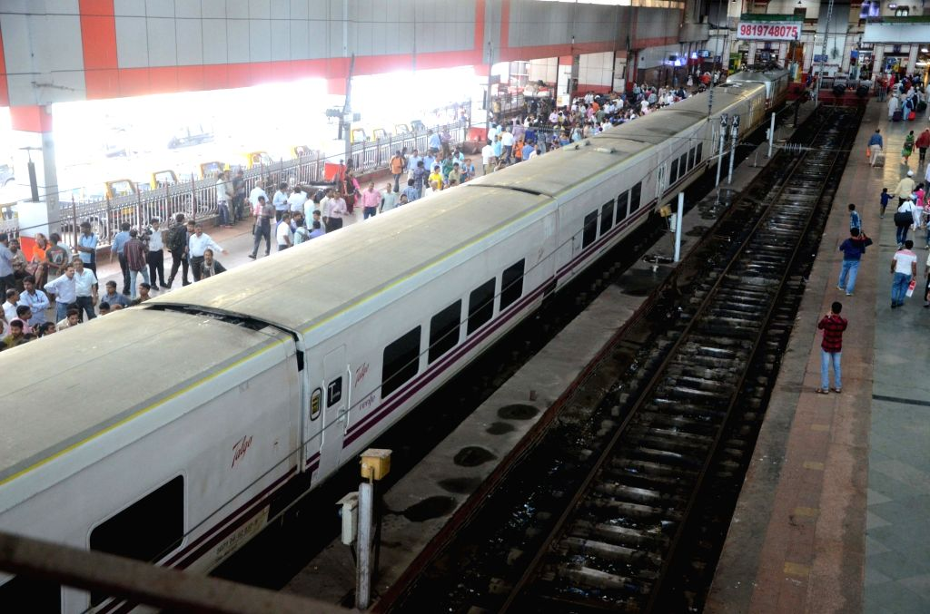 Spanish-made Talgo high-speed train arrives at Mumbai Central Terminus from New Delhi on its third and final trial run on Aug 2, 2016.
