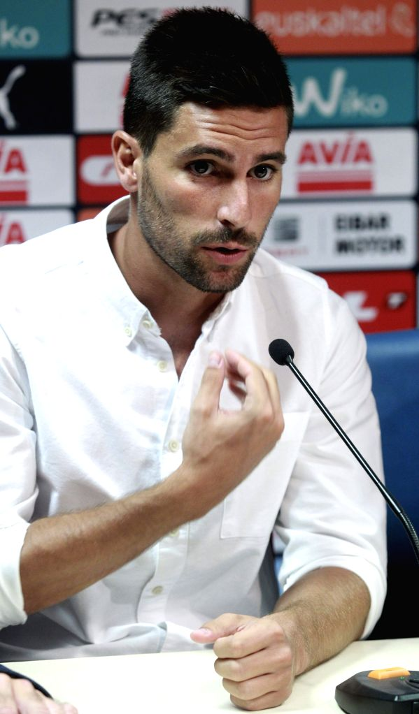 Spanish midfielder Adrian Gonzalez, during his presentation as new player of the team in Eibar, Basque Country, northern Spain, 17 August 2015. Gonzalez has signed a three-year contrac with the ...