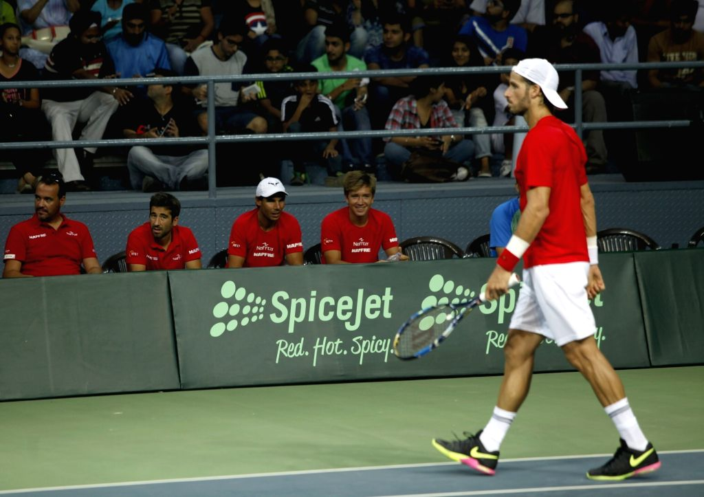 Spanish tennis player Feliciano Lopez during Davis Cup World Group Play-off in match against India's Ramkumar Ramanathan at RK Khanna Tennis Stadium in New Delhi on Sept 16, 2016. ...