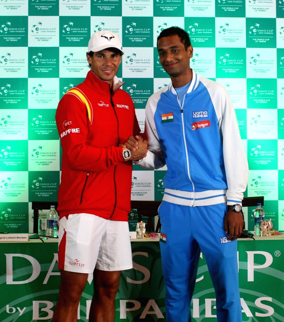 Spanish tennis player Rafael Nadal and Indian tennis player Ramkumar Ramanathan during Davis Cup 2016 draw ceremony in New Delhi on Sept 15, 2016.
