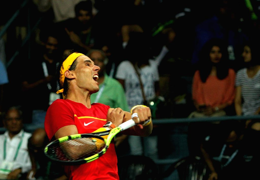 Spanish tennis player Rafael Nadal celebrates after winning Davis Cup World Group Play-off doubles match against India's Leander Paes and Saketh Myneni at RK Khanna Tennis Stadium in New ...