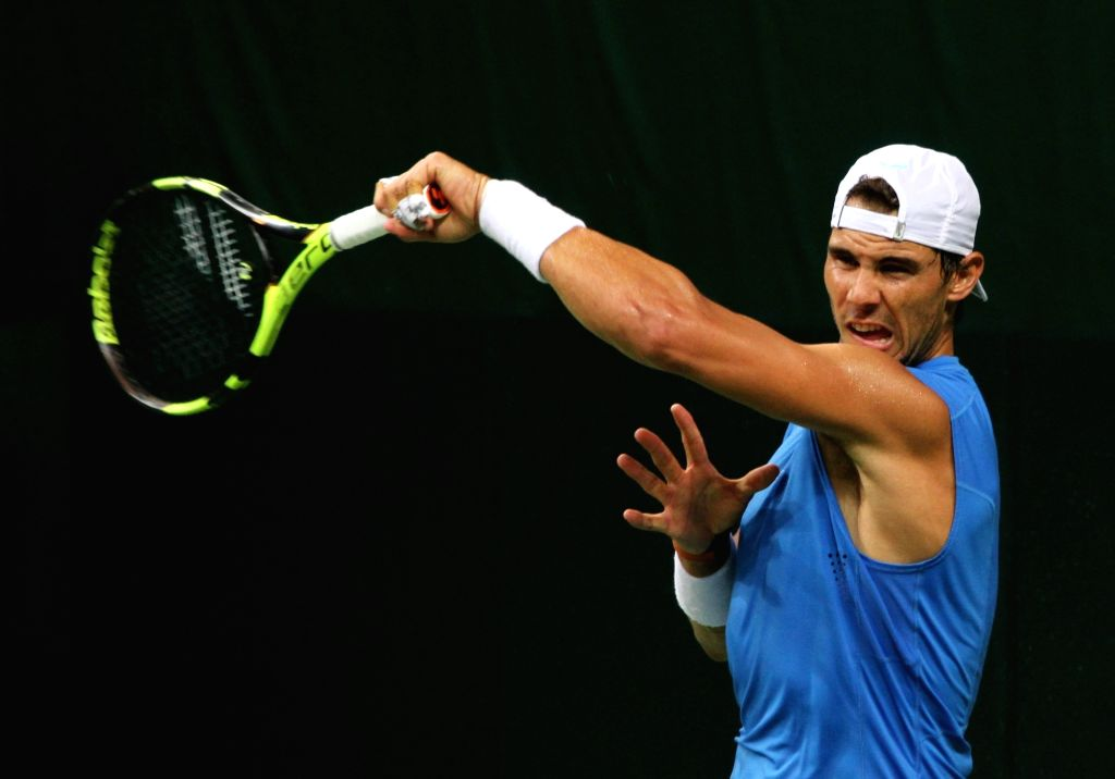 Spanish tennis player Rafael Nadal during a practice session ahead of Davis Cup 2016 in New Delhi on Sept 15, 2016.