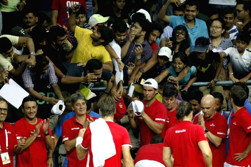 Spanish tennis player Rafael Nadal during Davis Cup World Group Play-off at RK Khanna Tennis Stadium in New Delhi on Sept 16, 2016.