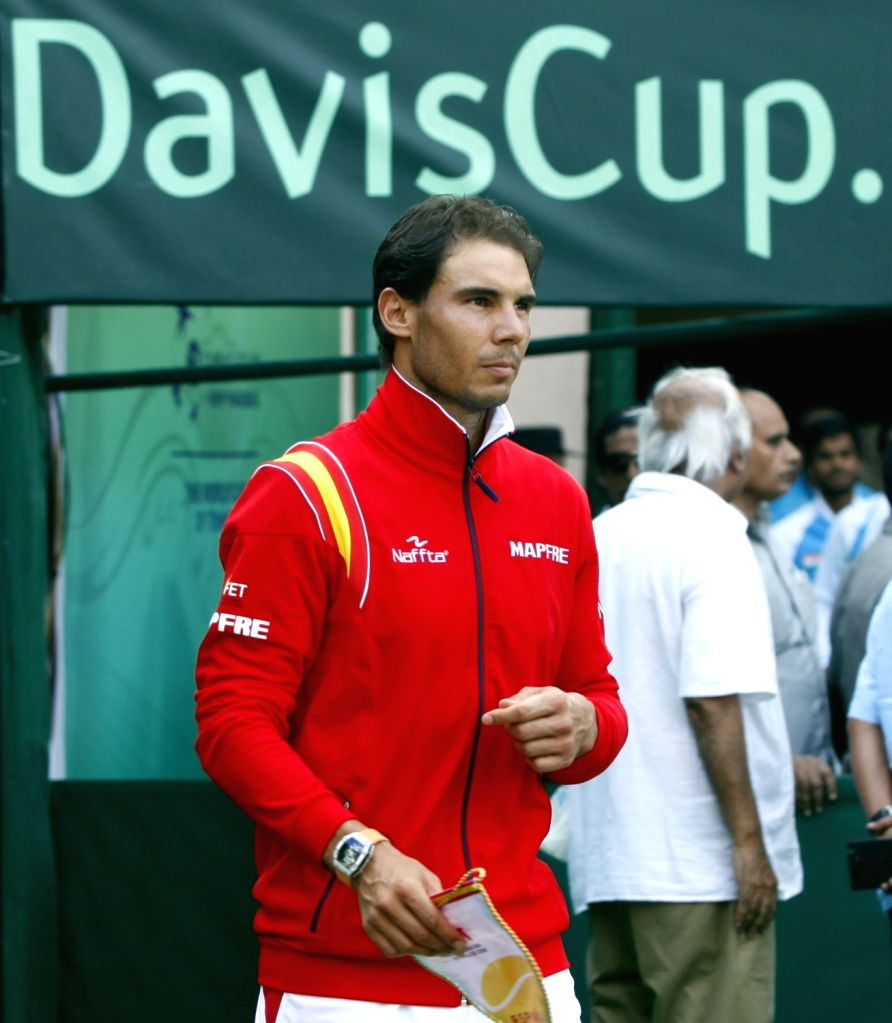 Spanish tennis player Rafael Nadal during the Davis Cup World Group playoff opening ceremony at the Delhi Lawn Tennis Association complex in New Delhi on Sept 16, 2016.