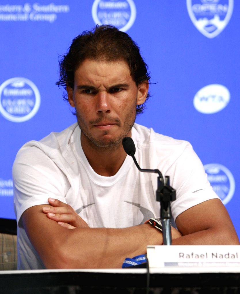 Spanish tennis player Rafael Nadal talks to a press conference during the first round of the WTA Tour Masters 1000 of Cincinnati at the Lindner Tennis Center of Mason, Ohio, on 17 August 2015. EFE/ ...