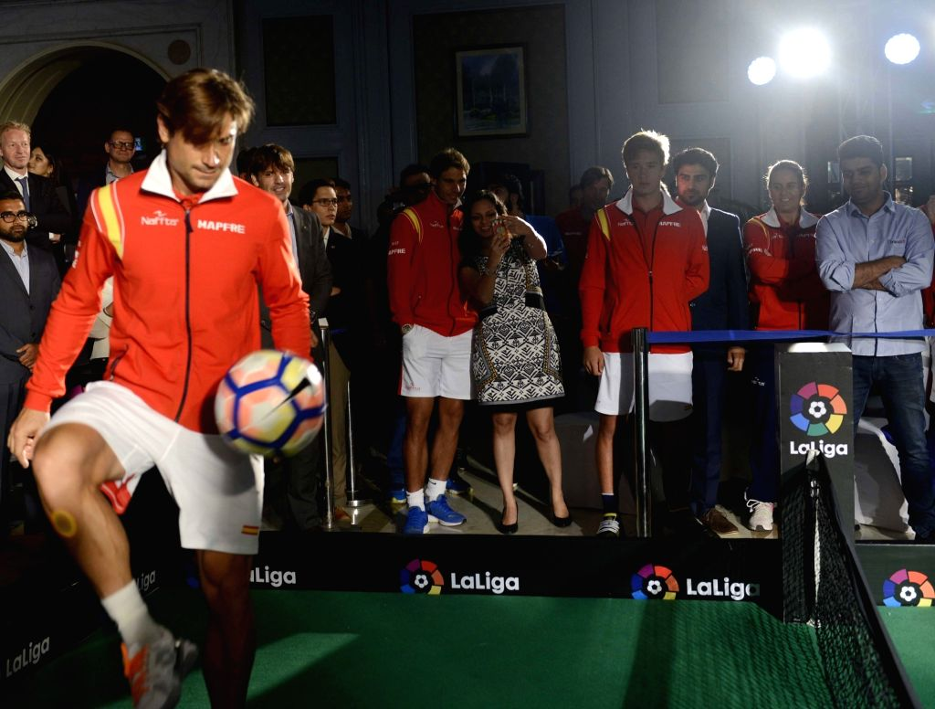 Spanish tennis players at the launch of La Liga in India on Sept 15, 2016.