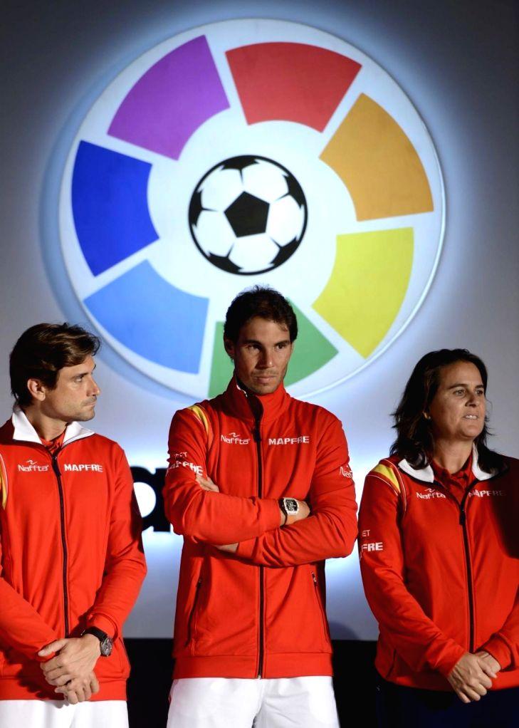 Spanish tennis players David Ferrer, Rafael Nadal and Conchita Martinez at the launch of La Liga in India on Sept 15, 2016.