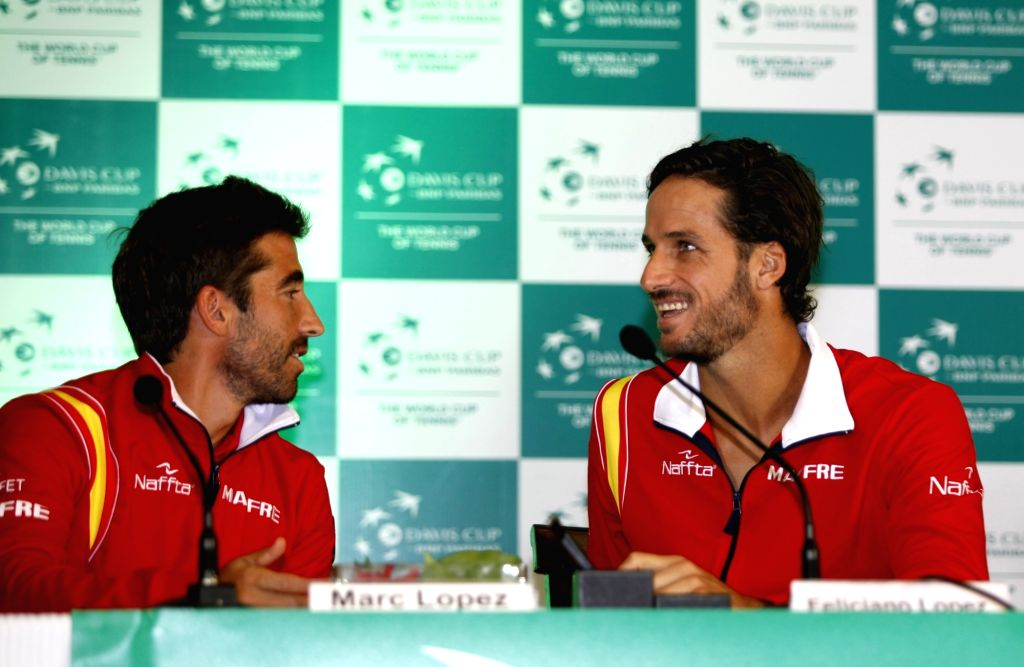 Spanish tennis players Marc Lopez and Feliciano Lopez during a press conference in New Delhi on Sept 15, 2016.