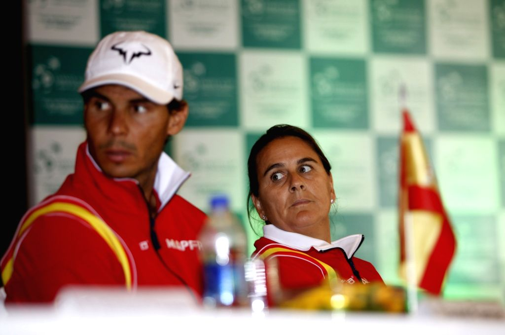 Spanish tennis players Rafael Nadal and Conchita Martinez during a press conference in New Delhi on Sept 15, 2016.